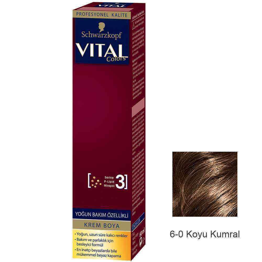 Vital Colors Krem Saç Boyası 6.0 Koyu Kumral  - 60 ml