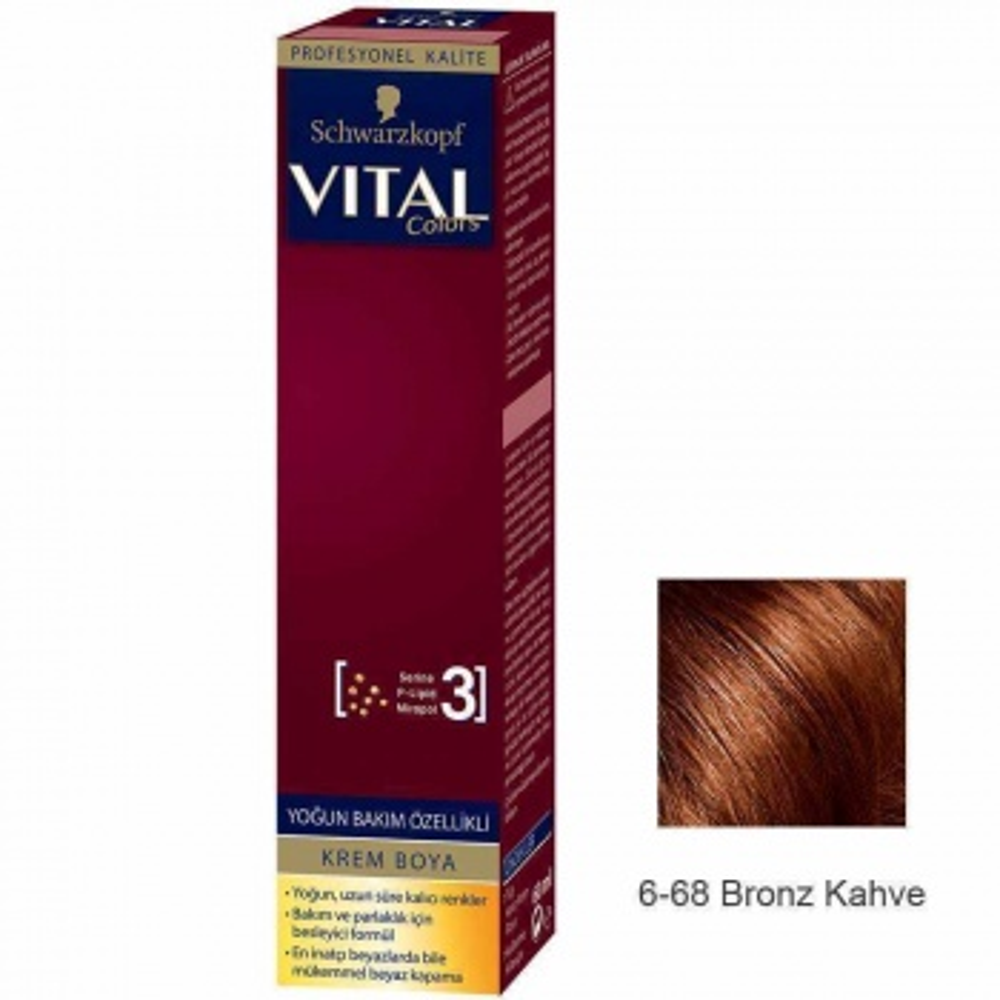 Vital Colors Krem Saç Boyası 6.68 Bronz Kahve  - 60 ml