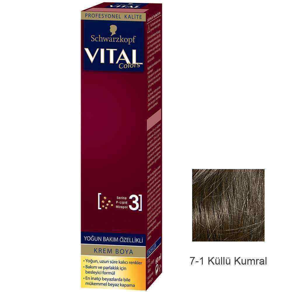 Vital Colors Krem Saç Boyası 7.1 Küllü Kumral  - 60 ml