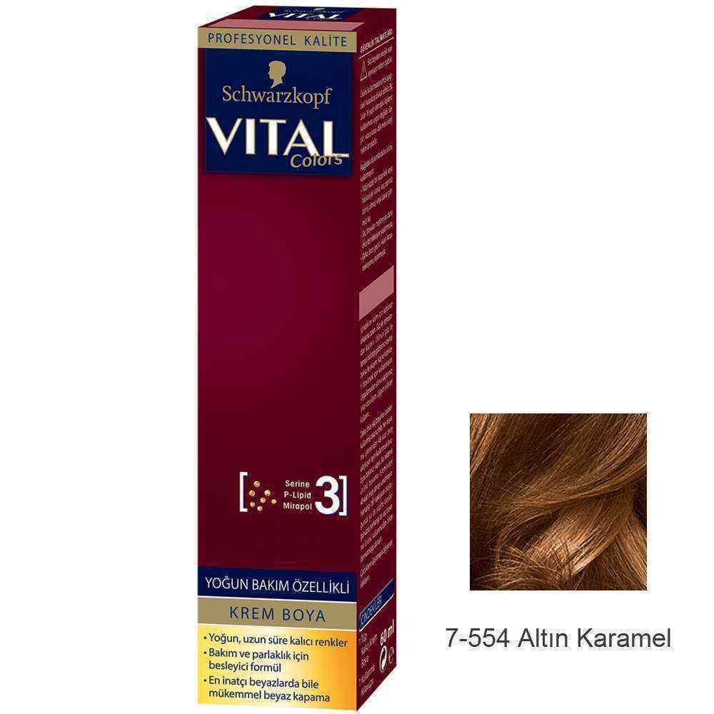 Vital Colors Krem Saç Boyası 7.554  Altın Karamel  - 60 ml