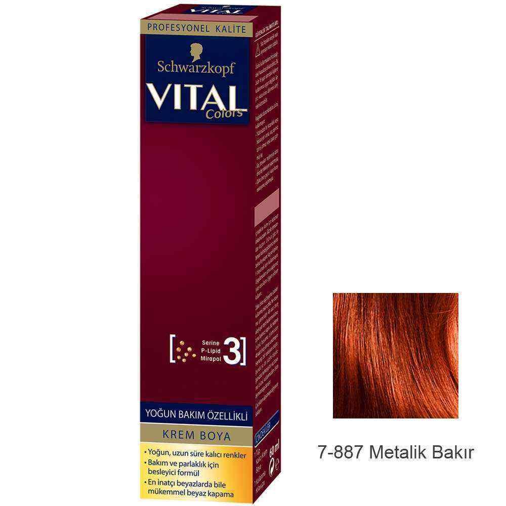 Vital Colors Krem Saç Boyası 7.887 Metalik Bakır  - 60 ml